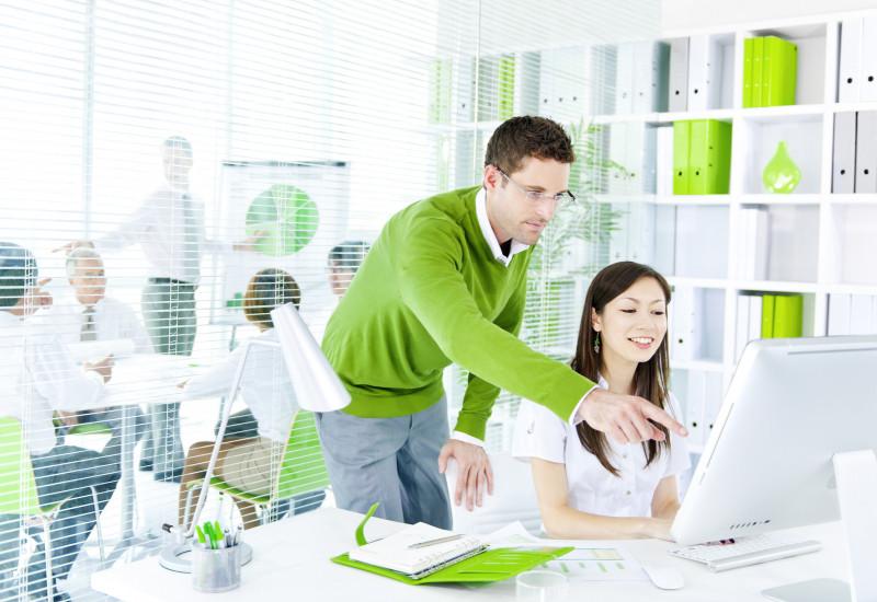 in einem weiß und hellgrün gehaltenen Büro sitzt eine Frau am Computer, ein Kollege steht daneben und zeigt etwas auf dem Monitor, im Hintergrund weitere Kollegen bei einer Besprechung, ein Mann präsentiert ein Tortendiagramm auf einem Flipchart