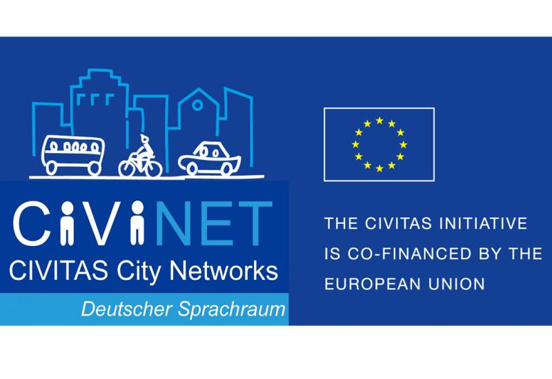 Logo mit Piktogrammen Bus, Fahrrad, Auto in der Stadt und der Aufschrift: CIVINET, CIVITAS City Networks, Deutscher Sprachraum, The CIVITAS Initiative is co-financed by the European Union