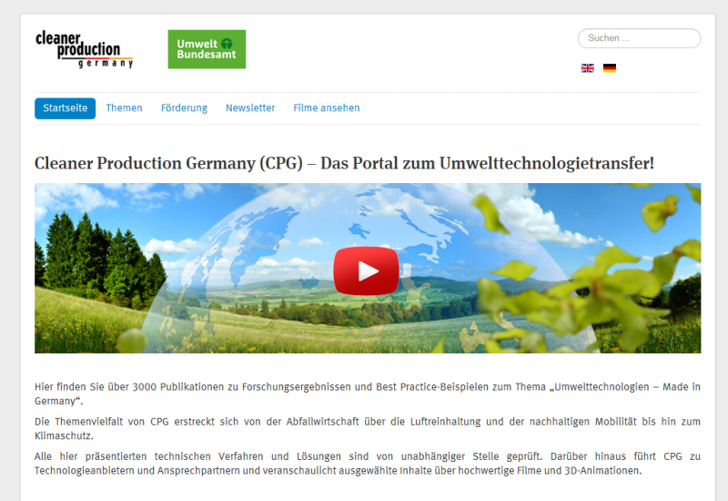 "Startseite der Website ""Cleaner Production Germany"""