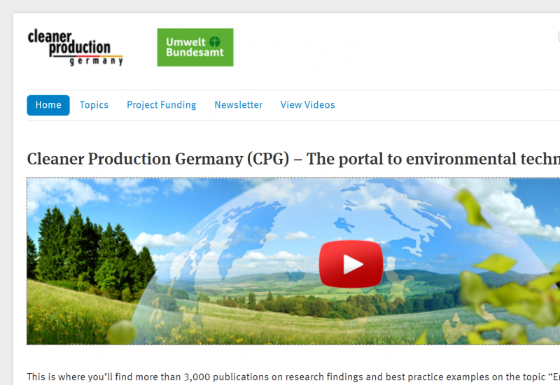 """screenshot of a website with a photo of a green landscape, the logo """"cleaner production germany"""" and the logo """"Umweltbundesamt"""""""