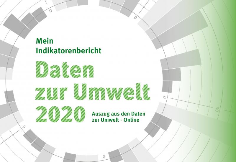 Ausschnitt des Titelblattes mit der Aufschrift: Mein Indikatorenbericht - Daten zur Umwelt 2020 - Auszug aus den Daten zur Umwelt - Online