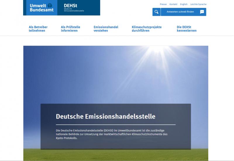 Screenshot Startseite der Website der deutschen Emissionshandelsstelle