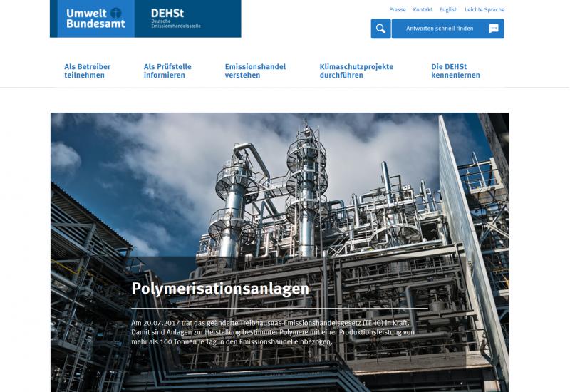 Startseite der Website der Deutschen Emissionshandelsstelle (DEHSt) im Umweltbundesamt