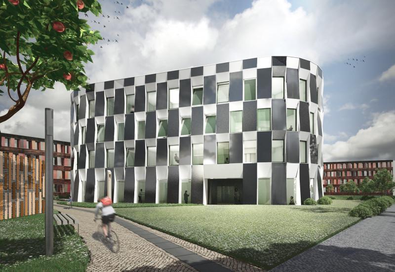 Computersimulation eines modernen vierstöckigen Gebäudes, die Fassade hat ein schachbrettartiges Muster aus weißen und schwarzen Rechtecken, im Hintergrund das jetzige UBA-Gebäude, im Vordergrund gehen Personen spazieren oder sitzen auf einer Rasenfläche