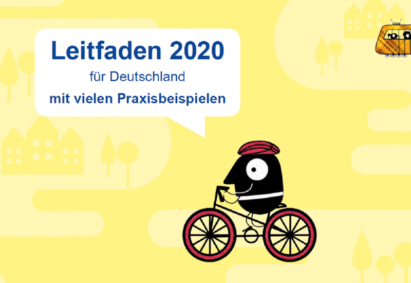 """Die Titelseite der Broschüre mit der Aufschrift """"Leitfaden 2020 für Deutschland mit vielen Praxisbeispielen"""" und den Piktogrammen eines Fahrradfahrers und einer Tram"""