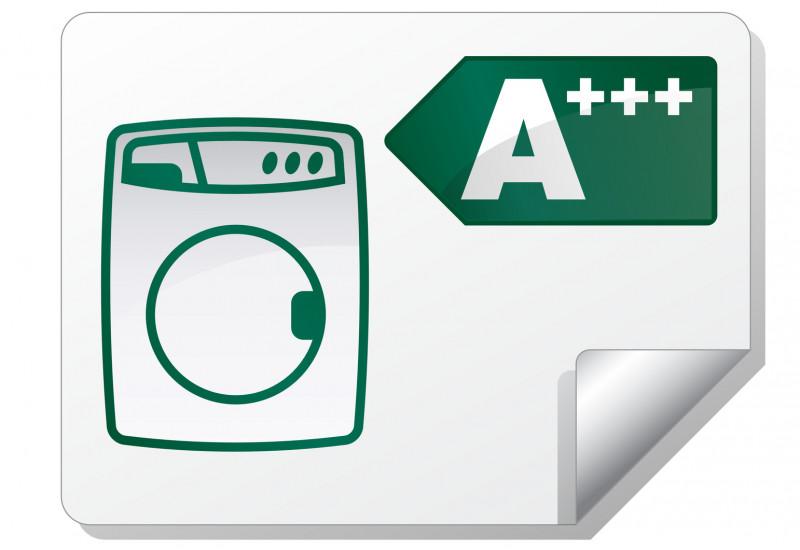 """Grünes Piktogramm einer Waschmaschine mit Energieeffizenzlabel """"A+++"""""""