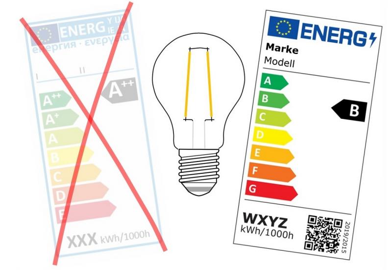 altes und neues Energieetikett für Leuchtmittel im Vergleich: altes mit Klassen von A++ bis E, neues von A bis G und mit QR-Code