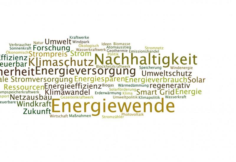 Wortwolke mit Begriffen zur Energiewende, wie Windkraft, Netzausbau oder Speicherung