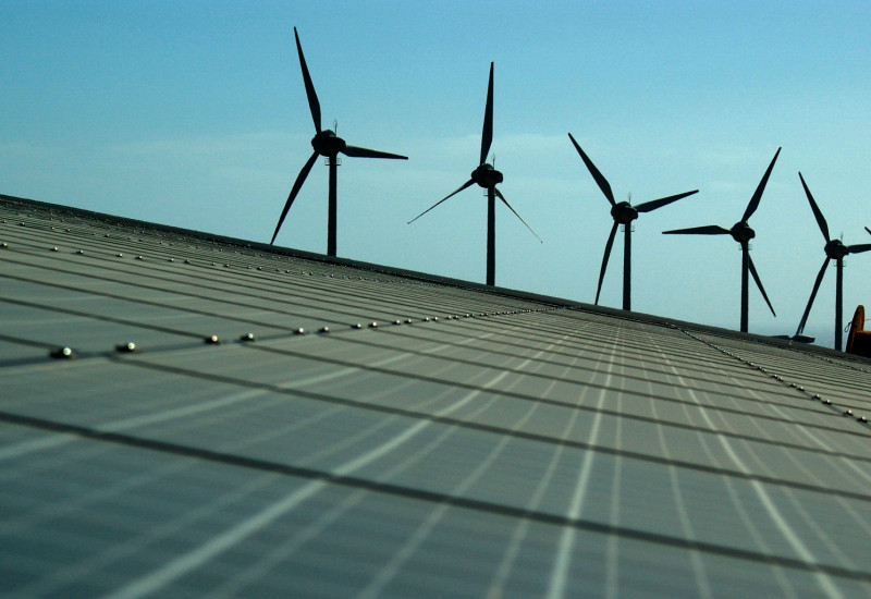 solar cells and wind power plant