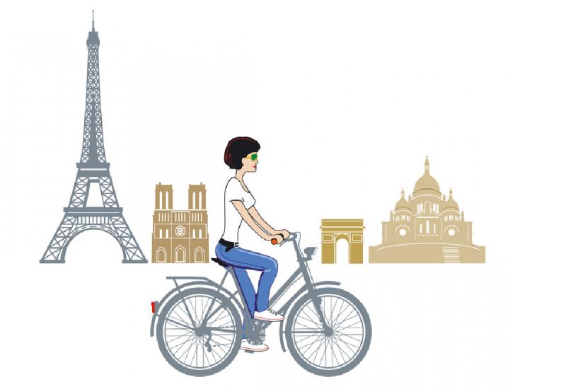 Zeichnung: eine Frau radelt auf einem Fahrrad an Pariser Sehenswürdigkeiten wie dem Eiffelturm vorbei