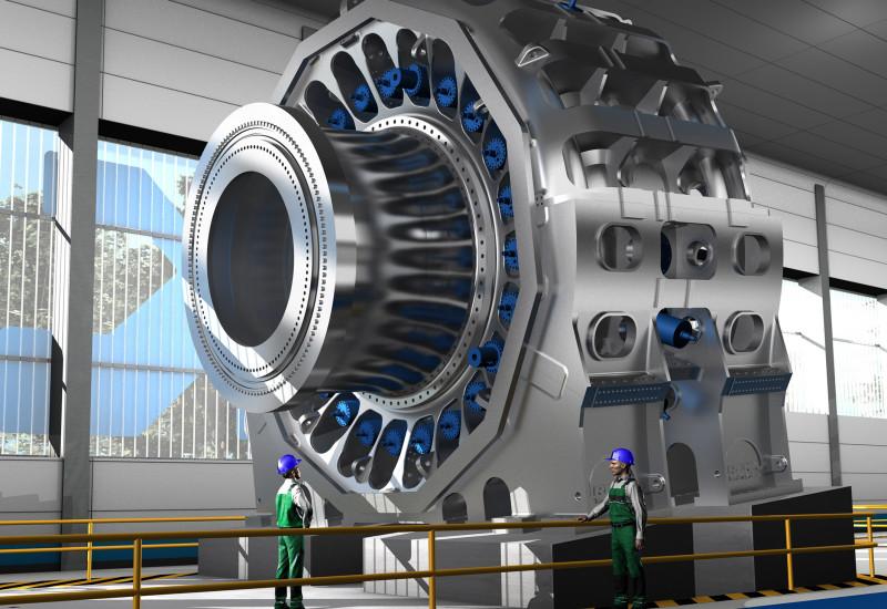 Computergeneriertes Bild: zwei Arbeiter mit Schutzhelmen stehen in einer Werkhalle vor einem riesigen Gebilde aus Metall, das wie ein Rad aufgestellt ist