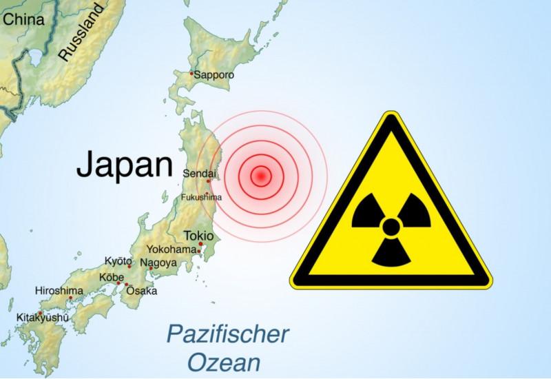 Die Landkarte zeigt Japan im Pazifischen Ozean und ein Warnsymbol für Radioaktivität