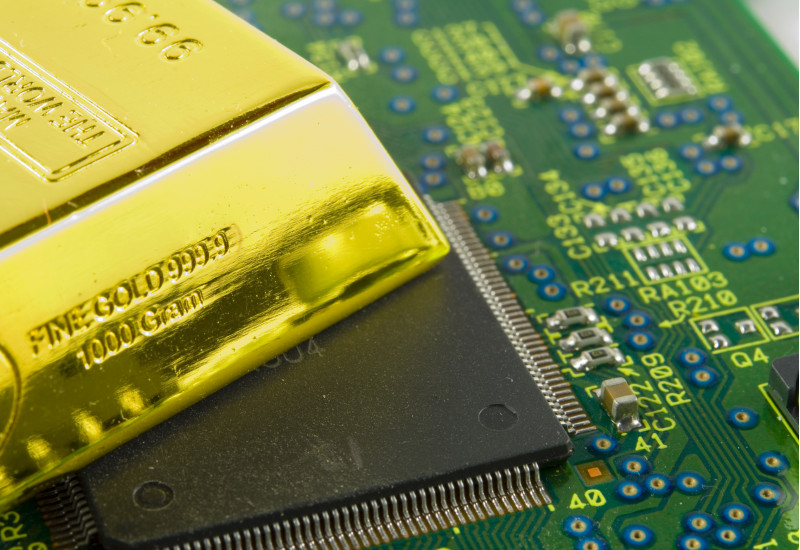 gold bar on a circuit board