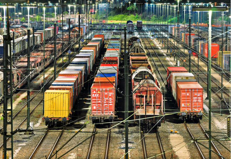 freight trains in a switch yard