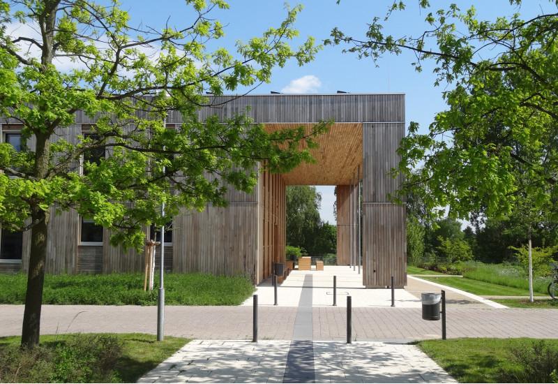 moderner Holzbau mit Flachdach im Grünen