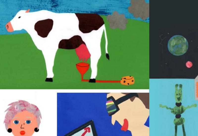 bunte, von Kindern gemalte Bilder zeigen eine Kuh, die Methan-Wolken ausstößt, grüne Marsmännchen, eine Frau und einen Jungen, der mit einer futuristischen Brille vor einem Laptop sitzt