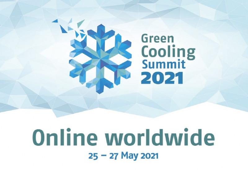 Logo: Piktogramm einer Schneeflocke und Schriftzug: Green Cooling Summit 2021, Online worlwide 25 - 27 May 2021