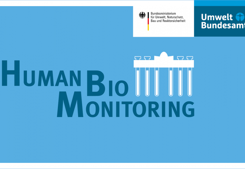 Logo: Human Bio Monitoring with a pictogram of the Brandenburger Tor and the logos of the Bundesumweltministerium and the Umweltbundesamt