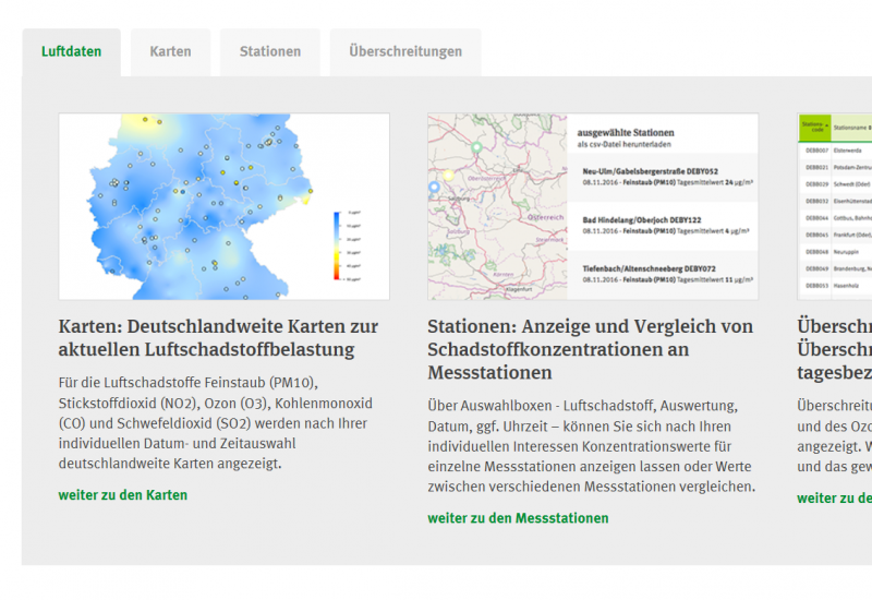 """Einstiegsseite des Internetangebotes """"Aktuelle Luftdaten"""" mit einer Karte von Deutschland"""