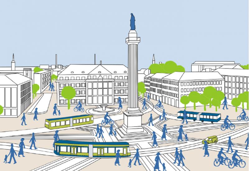 Zeichnung eines Stadtplatzes mit Straßenbahnen, Bussen, Fußgängern und Radfahrern