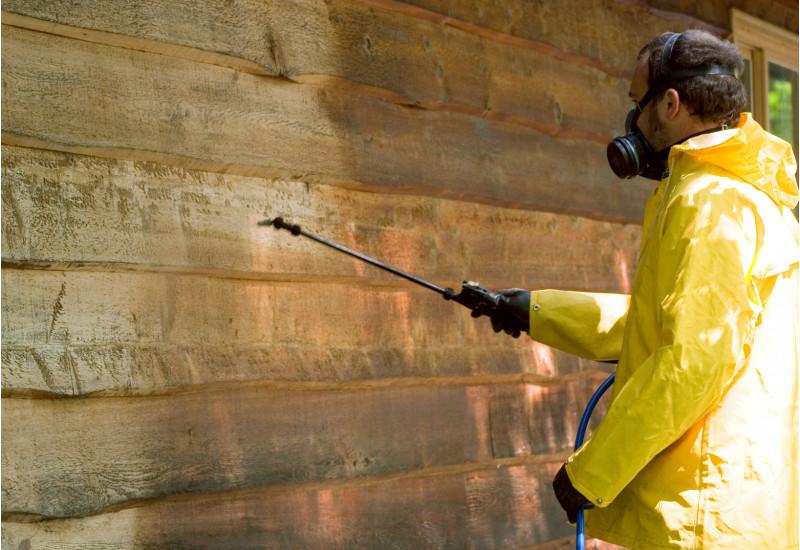 Ein Mann mit gelber Regenjacke, Handschuhen und Atemschutzmaske besprüht eine Holzwand mit einer Chemikalie