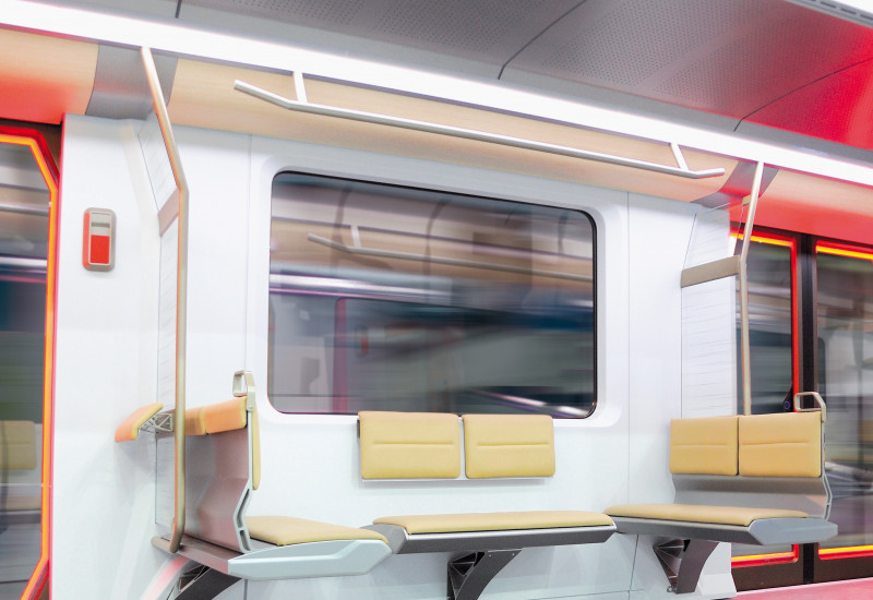 Blick in einen U-Bahnwagen mit moderner Sitzmöblierung