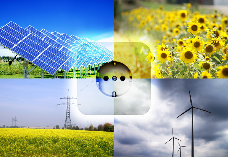 Collage: solar park, sunflower field, wind energy plants and colza field with power line, in the middle a power socket