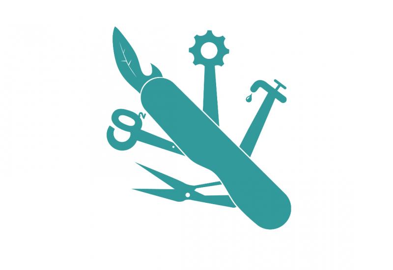 """blaugrünes Piktogramm eines schweizer Taschenmessers, aus dem eine Schere, ein Blatt, ein Zahnrad, ein tropfender Wasserhahn und """"CO2"""" als Werkzeuge herausgezogen sind"""