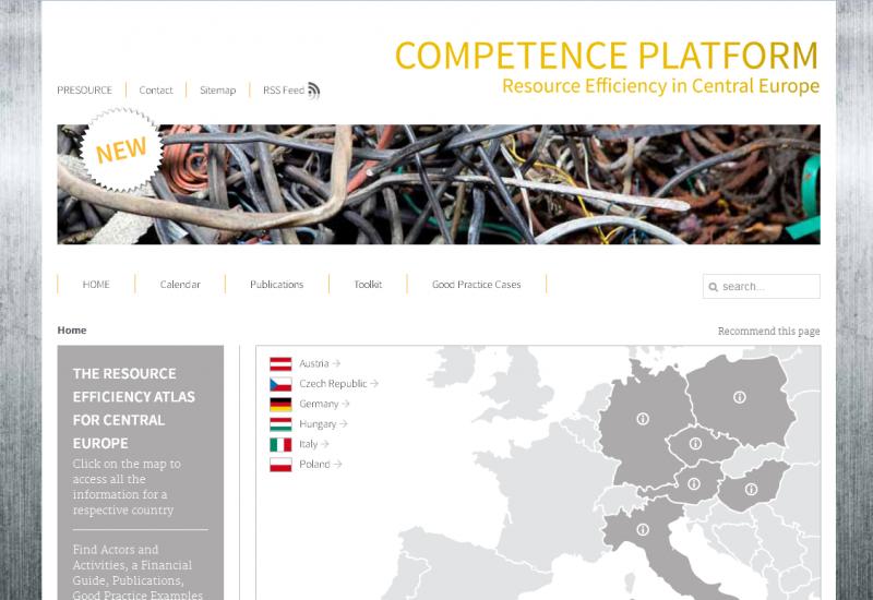 Screenshot einer Website, Ausschnitt einer Europakarte, die Länder Deutschland, Italien, Österreich, Polen, Tschechische Republik und Ungarn sind hervorgehoben