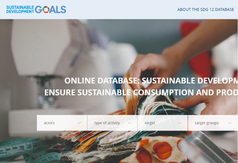 Home page of the SDG 12 database