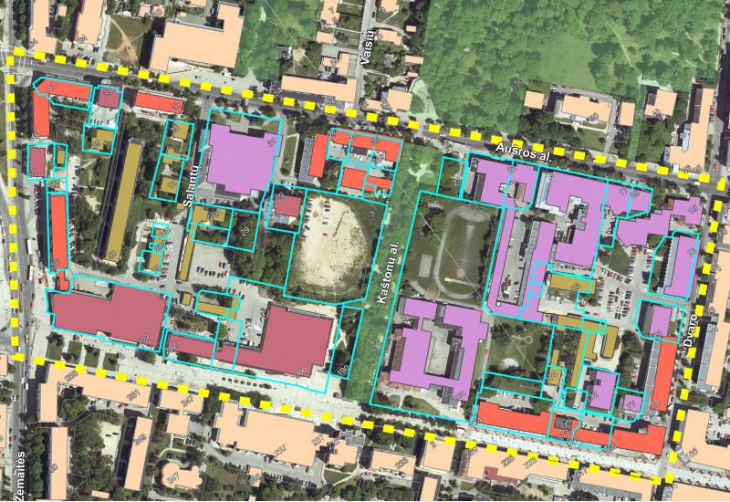 Luftbild eines Stadtquartiers, mit einem Computerprogramm wurden die Umrisse des Quartiers, der Straßen und der Gebäude nachgezeichnet