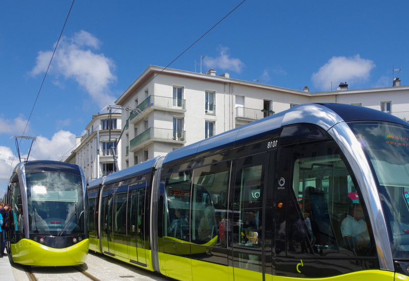 modern tramways in the city
