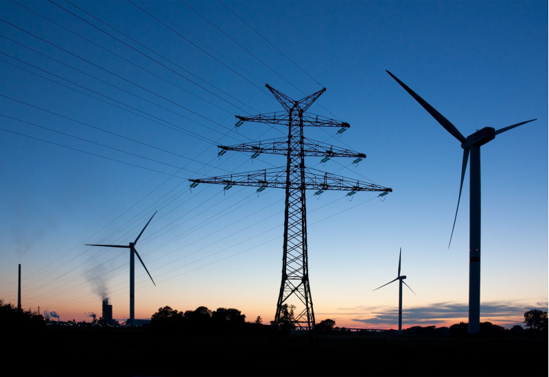 wind energy plants and open power supply line