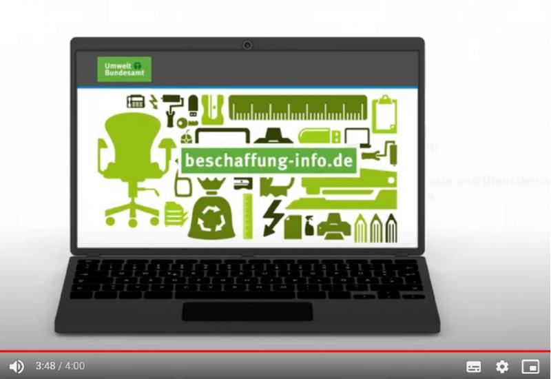 Der Filmausschnitt zeigt einen Laptop mit dem Webangebot beschaffung-info.de