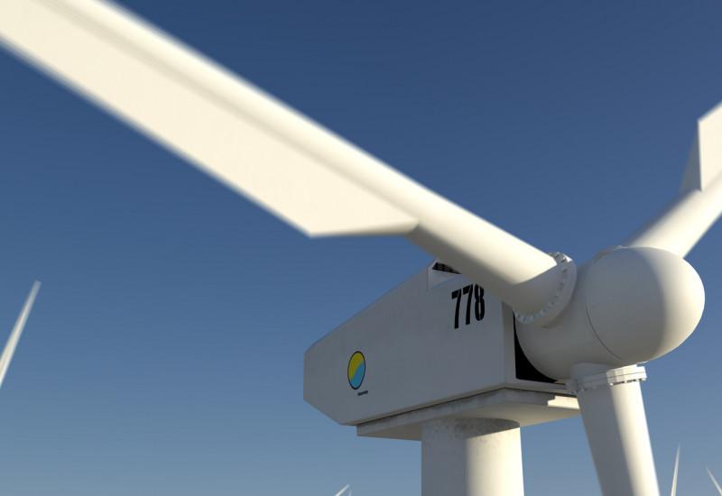 wind turbines and blue sky