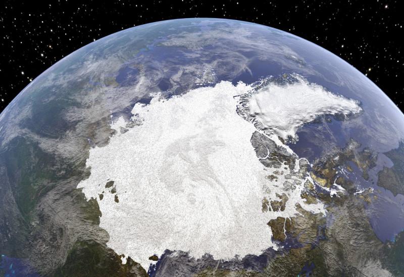 Blick vom Weltall aus auf die Arktis