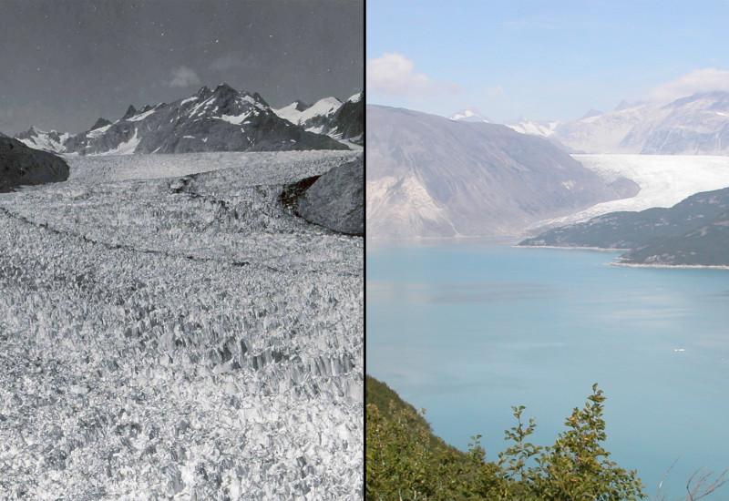 Abschmelzen des Muir Gletschers in Alaska 1941 und 2004