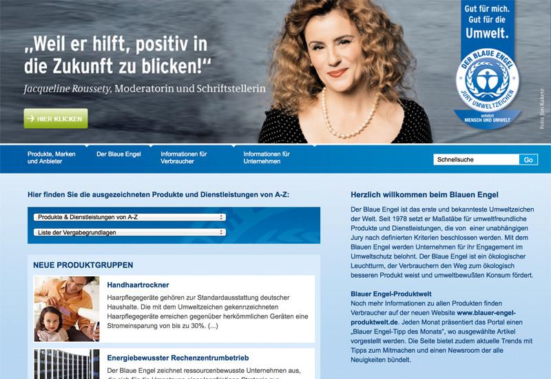 Startseite der Website des Blauen Engels