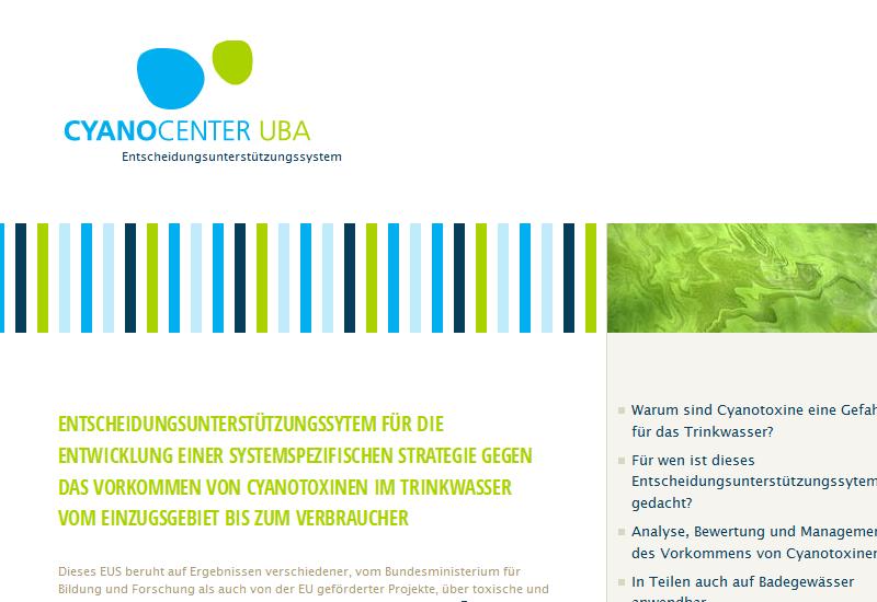 Startseite der Website www.toxische-cyanobakterien.de