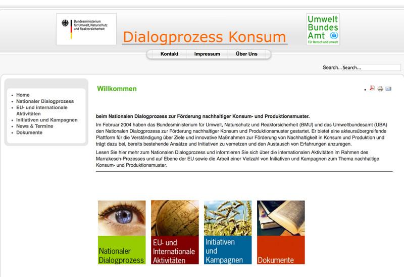"""Startseite der Website """"Dialogprozess Konsum"""""""