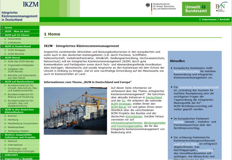 Startseite der Website zum Integrierten Küstenzonenmanagement (IKZM)