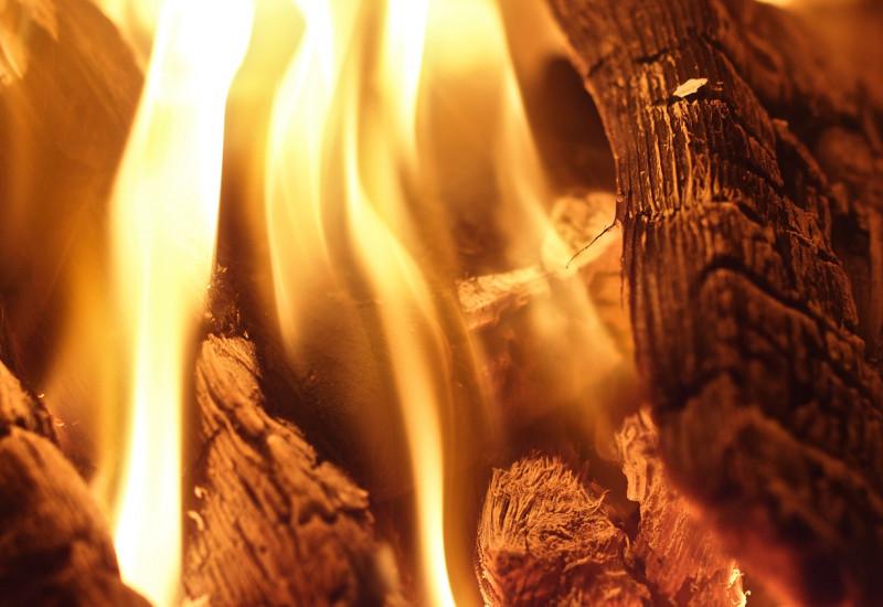 Holzscheite glühen im Feuer
