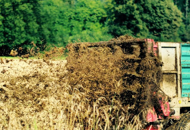 Miststreuer verteilt Kompost auf einem Feld
