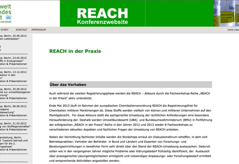 Startseite der REACH Konferenzwebsite