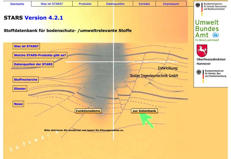 Startseite der Stoffdatenbank STARS