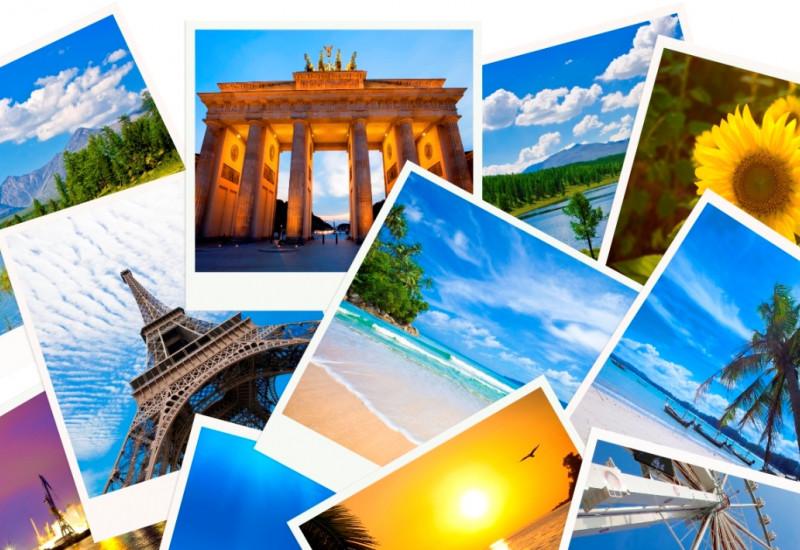 Verschiedene Polaroid-Bilder, die Urlaubsmotove zeigen