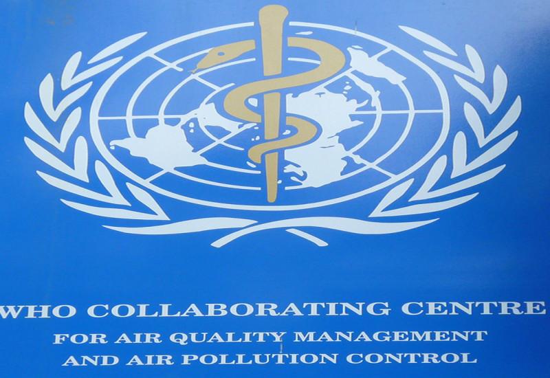 Schild des WHO CC Air Quality Management and Air Pollution Control