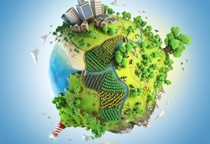 stilisierte Erdkugel, auf der Landschaften und Städte überhöht dargestellt sind
