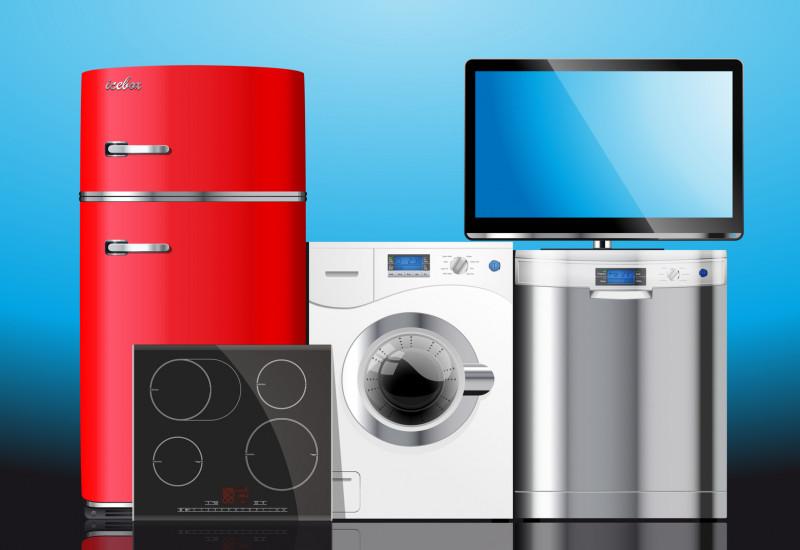 Kühlschrank, Waschmaschine, Spülmaschine, Fernseher, Cerankochfeld