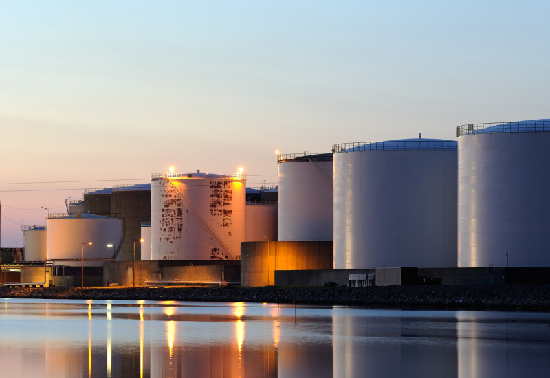 Oil storage tanks at the port